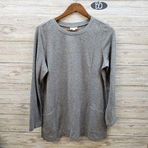 J Jill Gray Long Sleeve Sweater With Pockets